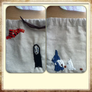 ジブリ刺繍の巾着袋