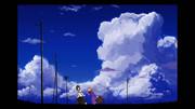 青い空の下で