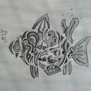 【授業中に描いてみた】 さかな魚fish