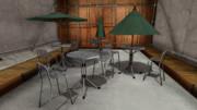 COZY&COZY バーテーブル+パラソルセット