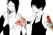 Black/牡丹と鯉