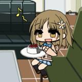 ケーキを食べる三村かな子.GIFアニメ