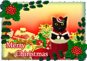 ブーツinちび黒猫のクリスマスカード