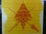 ステッカーで初号機ロゴ