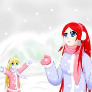 ツバキとノエルと雪景色