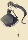黒髪黒ドレス