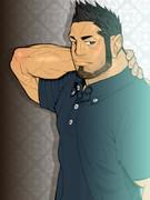 イケメンキャラが大嫌いなんで無骨な筋肉質なお兄さん(30代)を描いてみた(´◔◞౪◟◔)