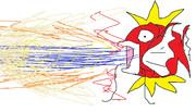 コイキングがすさまじい勢いで破壊光線をうっているときの図