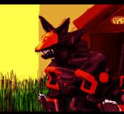 黄昏時の影狐