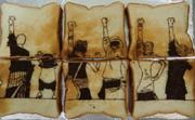 ワンピース名場面を食パンに描いてみた(×印)