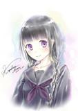 ラクガキ黒髪三つ編みセーラー服
