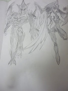 【よぉ】E・HEROフェザーマン&バーストレディ描いてみた