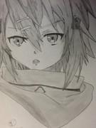 ソードアートオンライン シノンを シャーペンで 描いてみた。