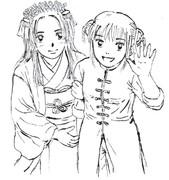 かぶき町の姫と女王(ぬり絵用)