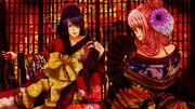 遊女っぽい和服で神威と高杉