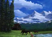 雪山と牧場