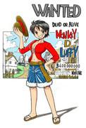 女ルフィ手配書 二年後 修正カラー版