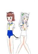 春香&ことり ネコミミスク水セーラー