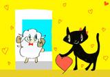 羊男と黒猫女(使わなかった方の下描き)