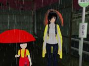 雨降りバス停