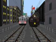 昭和の街と行き交う昭和の電車