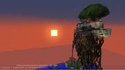 ラピュタ百景【2枚目】崩壊後のラピュタと夕日