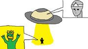 UFOで河童をさらう宇宙人のおばけ