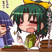 ハンバーグを食べるなおちゃん