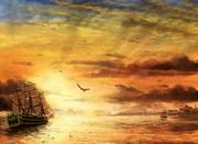 黄昏時の海を征く