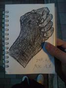 バスの中で描いてみた手