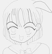女の子塗り絵していってね(白黒)ぬり絵 落書き 初心者 マウスで線書きしてみた。