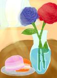 マカロンと薔薇