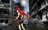 廃墟とギターと少女。