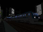【RailSim】 夜中のビル群の中を