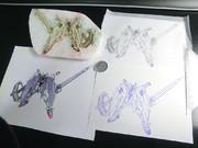 [消しゴムはんこ] クロスボーン・ガンダムX1フルクロスを彫ってみた [EXVS]
