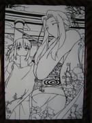 Fate/Zero・セイバー&アイリスフィールの切り絵(白黒版)