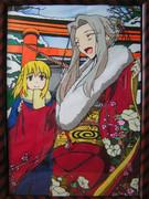 Fate/Zero・セイバー&アイリスフィールの切り絵(カラー版)