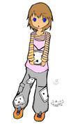 【超Tシャツ工房】ニコニコテレビちゃんを抱く女の子 カラー 文字なし