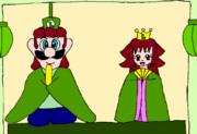 盛大に遅れたひな祭りイラスト(緑ver)
