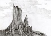 枯れた世界樹と街