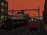 夕暮れ時の電車
