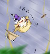 ケロちゃん風雨に負ける