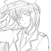 軍服娘さん線画