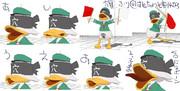 ケツアンカー水兵の表情と旗
