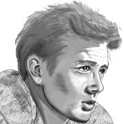 「エデンの東」のジェームズ・ディーンの似顔絵