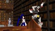 リベリオンのエース機が図書館で本の案内をする