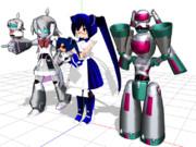 【MMDモデル配布あり】シンプル直球表題ロボットアニメ【三人娘】