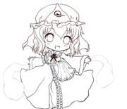 【東方】幽々子の線画【ぬりえ】
