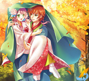 紅葉のなか、花嫁と