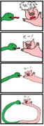 四コマ「蛇×豚」